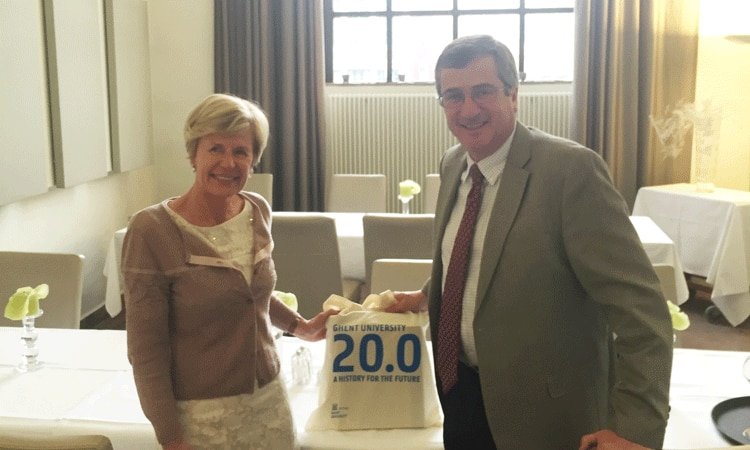 Chargé d'Affaires Matt Lussenhop and Universiteit Gent Rector Anne De Paepe