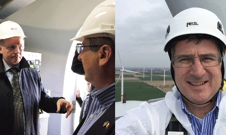 Chargé d'Affaires Matt Lussenhop and a team from the US Embassy visited the Eneco's Perwez Wind Park in Wallonia, together with GE Benelux Director Roland Teixeria.